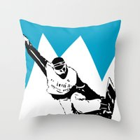 snowboarding Throw Pillows featuring Snowboarding Design by Cwilwol