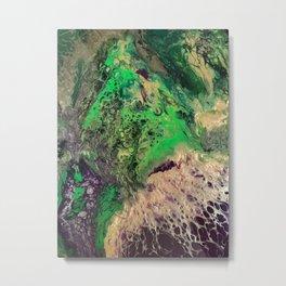 Roar - Abstract Fluid Art Green Purple Gold Violet Painting Metal Print