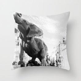 Elephant in Paris Throw Pillow
