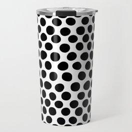 Black Hand Painted Spots on White Travel Mug
