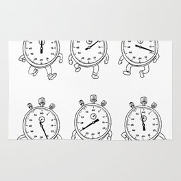 Stopwatch Running Run Cycle Drawing Sequence Rug