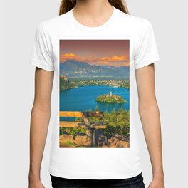 Slovenia Bled Lake Island Scenery Bench Cities Building landscape photography Houses T-shirt