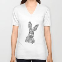 hare V-neck T-shirts featuring Hare by Eirik Walland Larsen