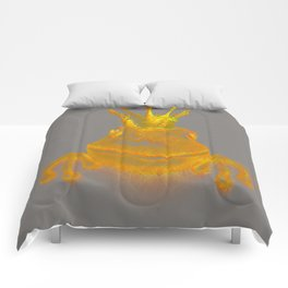 Simple Golden King Frog on Grey Day Comforters
