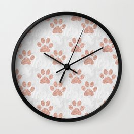 Rose Gold Paw Print Pattern Wall Clock