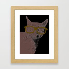 Yoshi Cat Glasses Framed Art Print