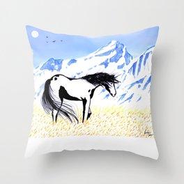 Paint Horse Under the Grand Tetons Throw Pillow