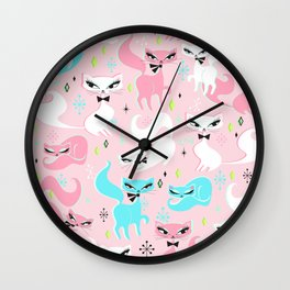 Swanky Kittens on Pink Wall Clock