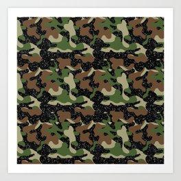 USA Woodland Camo Army Olive Brown Black Sparkle  Art Print