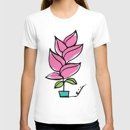 Growing Plant in Pink and Green, Continuous Line Drawing T-shirt