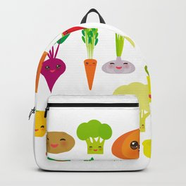 Kawaii vegetables peppers, pumpkin beets carrots, eggplant, red hot peppers, cauliflower, broccoli Backpack