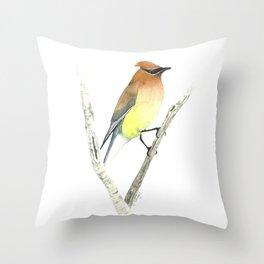 Cedar Waxwing in Watercolor Throw Pillow