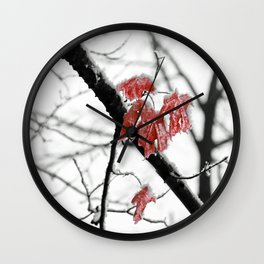 Scarlet Red Leaves in Winter Wall Clock