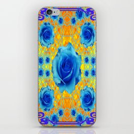 Art Nouveau Blue-golden Roses Abstract Design. iPhone Skin