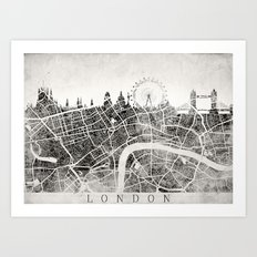 LONDON Skyline + map #3 Art Print
