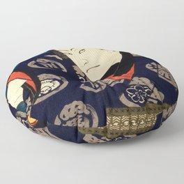 A Wary Samurai Traditional Japanese Character Floor Pillow