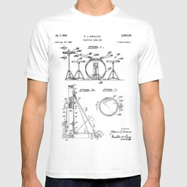 Drum Set Patent - Drummer Art - Black And White T-shirt