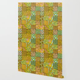 patchwork dreams retro flower quilt dreams of waves Wallpaper