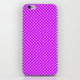Tiny Paw Prints Pattern - Bright Magenta and White iPhone Skin