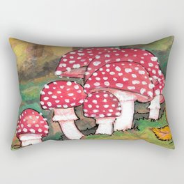 Mushrooms in the Woods Rectangular Pillow