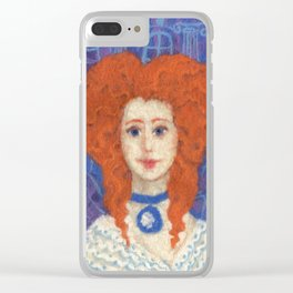 Red Hair, ginger lady, rococo haircut, felt painting, fiber art Clear iPhone Case