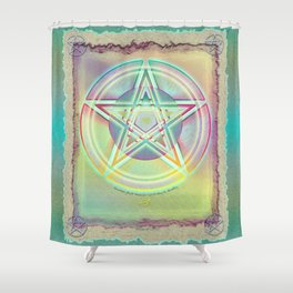 Rainbow Ghosted Pentacle Shower Curtain