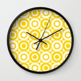 Mid Century Square and Circle Pattern 541 Yellow Wall Clock