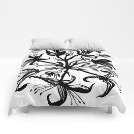 Black bouquet Comforters