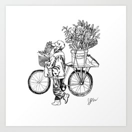 Bicycle Flower Seller in Hanoi in Pencil Art Print