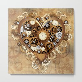 Steampunk Heart Love Metal Print