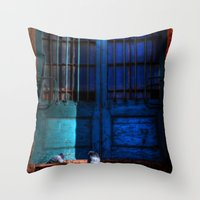 manchester Throw Pillows featuring Manchester Pigeons by Caroline Benzies Photography