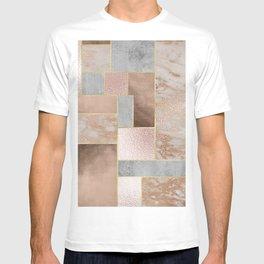 Copper and Blush Rose Gold Marble Quadrangle Geometrical Shapes T-shirt