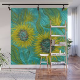 Sunflower Abstract on Turquoise I Wall Mural
