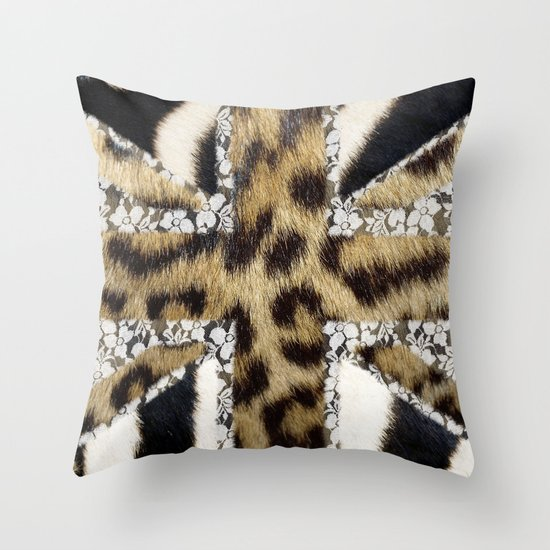 Wild | Hipster leopard Print Zebra UK Union Jack Flag  Throw Pillow