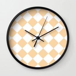 Large Diamonds - White and Sunset Orange Wall Clock