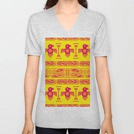 Aztec geometric background with fantastic birds Unisex V-Neck