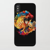 luffy iPhone & iPod Cases featuring Luffy Attack by feimyconcepts05