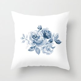 Blue and White Rose Bouquet Throw Pillow