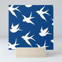 blue and white birds Mini Art Print