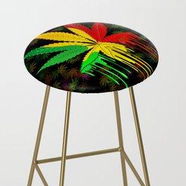 Marijuana Leaf Rasta Colors Dripping Paint Bar Stool