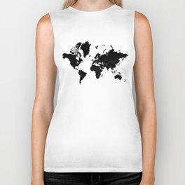 Minimalist World Map Black on White Background Biker Tank