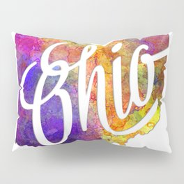 Ohio US State in watercolor text cut out Pillow Sham