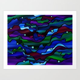 Psychedelic Seascape Stained Glass Design Art Print
