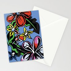 tropical flowers blue Stationery Cards