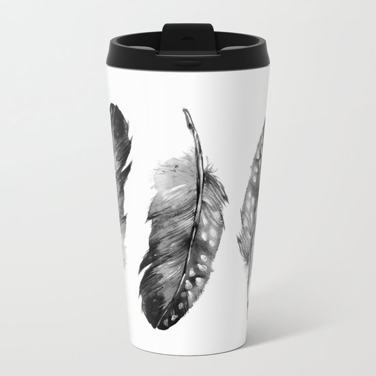 Three Feathers Black And White II Metal Travel Mug