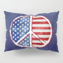 Watercolor Patriot Peace Symbol Stars and Stripes USA Flag Pillow Sham