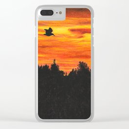 Sunset sky with bird Clear iPhone Case