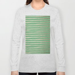 Abstract Stripes Gold Tropical Green Long Sleeve T-shirt