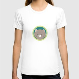 Cute tiger kitty with green circle T-shirt