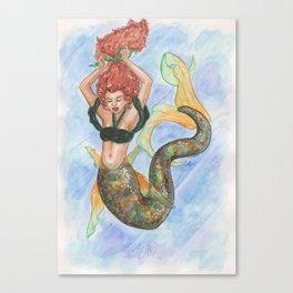 Mermaid tying her hair Canvas Print
